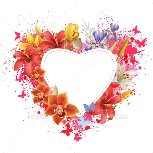 Greeting Card with Flowers and Butterflies - Valentines Seasons/Holidays