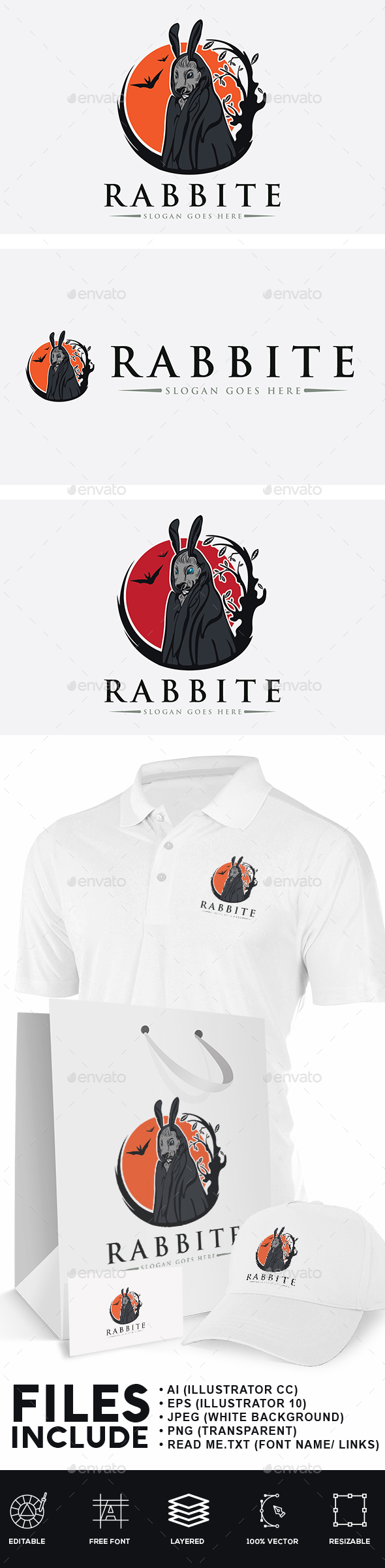 Rabbit Devil Logo - Animals Logo Templates