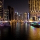 Night  of Dubai With Colorful Boats - VideoHive Item for Sale
