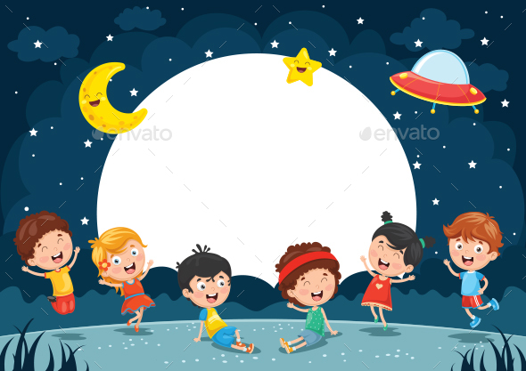 Vector Illustration of Kids Playing Outside - People Characters