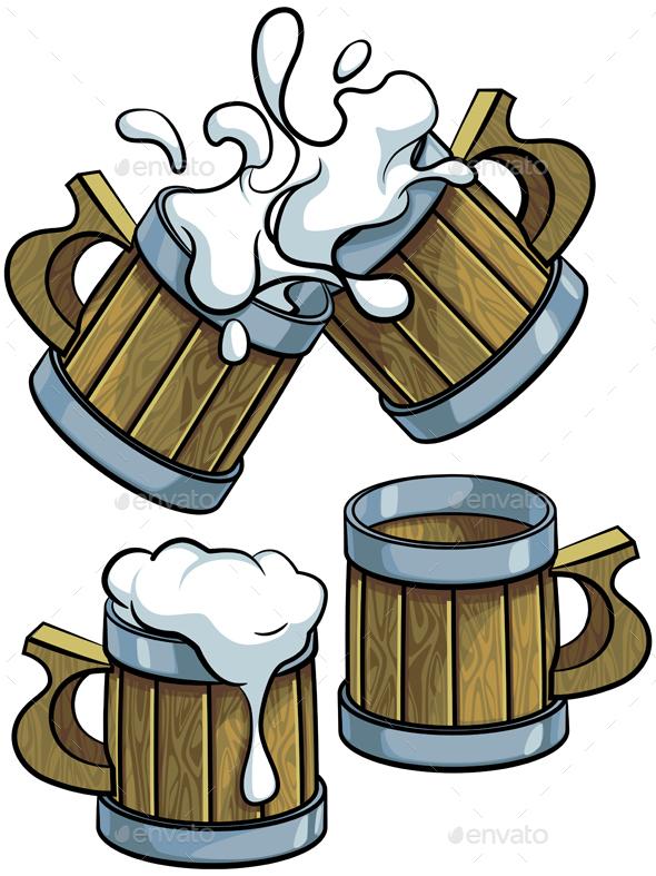 Set of Wooden Beer Mugs - Objects Vectors