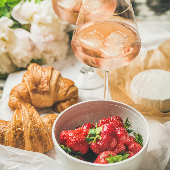 French style romantic summer picnic setting, square crop - Stock Photo - Images