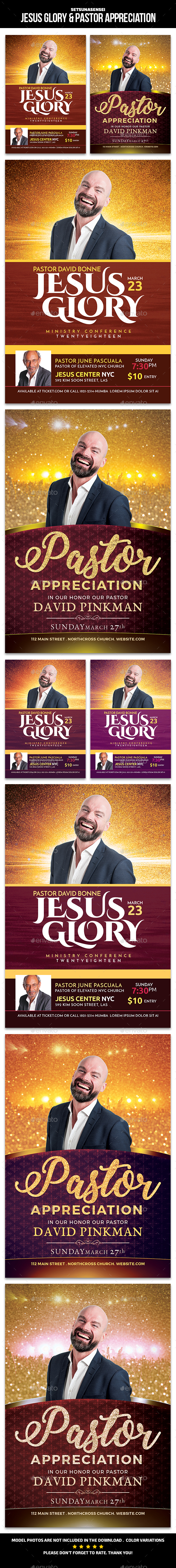 Jesus Glory & Pastor Appreciation Church Flyer - Church Flyers