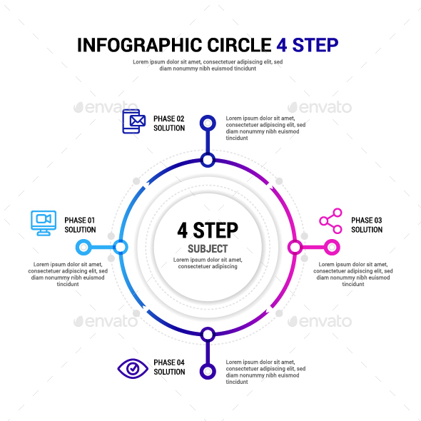 Circle 4 step Infographic - Infographics