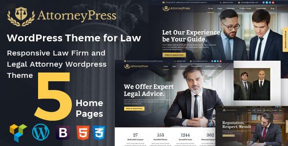 Attorney Press - Lawyer and Law Office WordPress Theme - Business Corporate