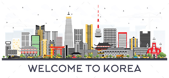 South Korea City Skyline with Color Buildings. - Buildings Objects