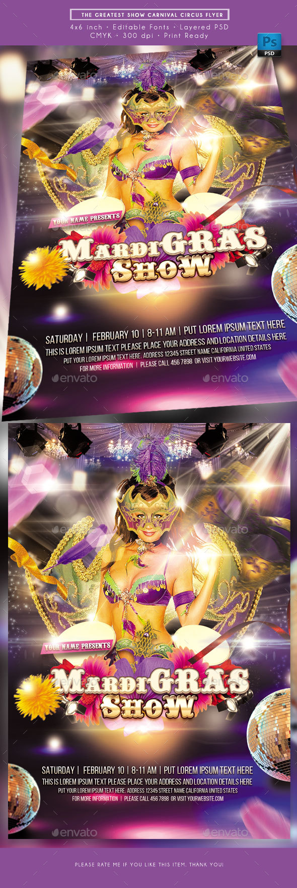 Mardi Gras Show Flyer - Holidays Events