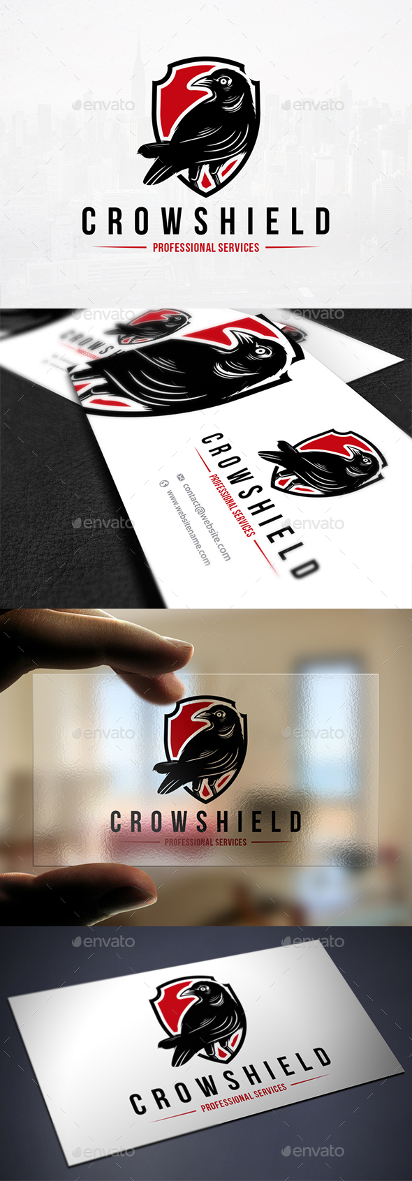 Crow Shield Logo Template - Animals Logo Templates