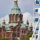 Helsinki skyline city center. Big wheel and Uspenki cathedral. Finland - PhotoDune Item for Sale