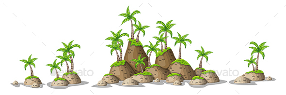 Hills with Tropical Palm Trees - Flowers & Plants Nature