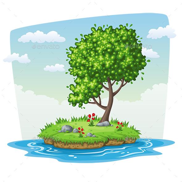 Tree on Island - Landscapes Nature