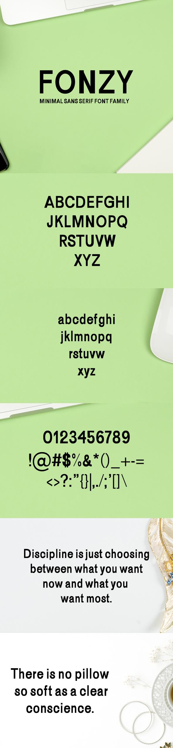 Fonzy Minimal Sans Serif 5 Font Pack - Sans-Serif Fonts