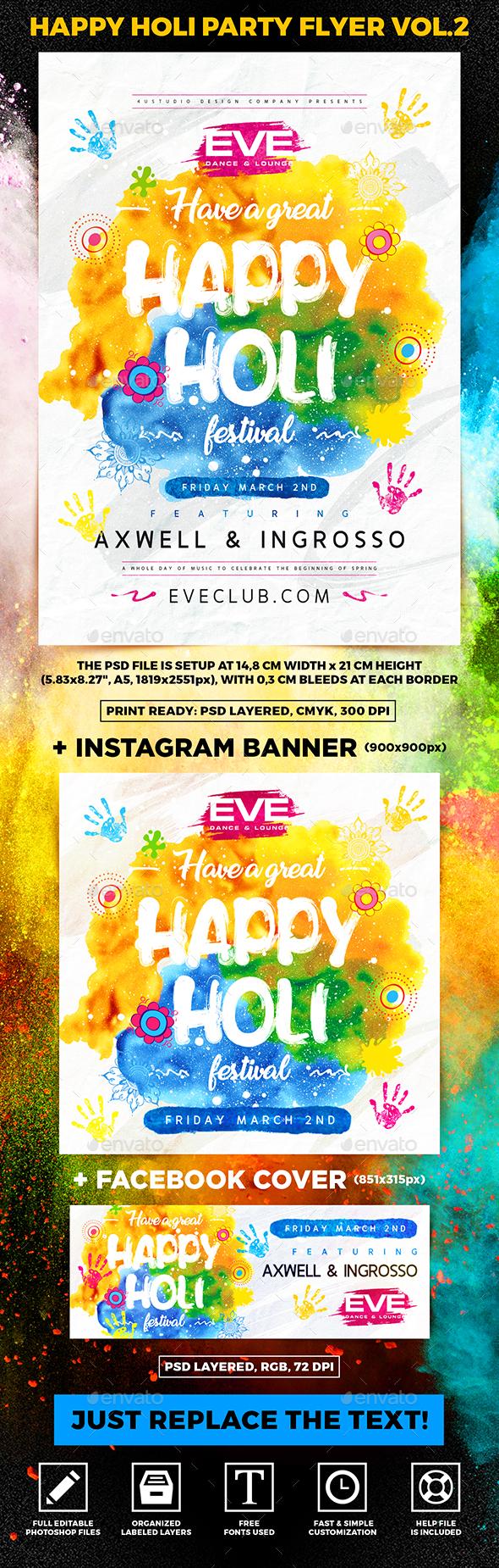 Happy Holi Party Flyer vol.2 - Holidays Events