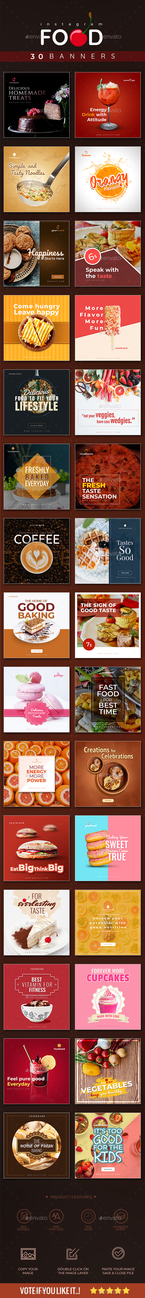 30 Food Instagram Banners - Social Media Web Elements