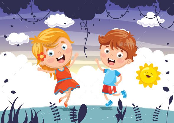 Vector Illustration Of Kids Playing - People Characters