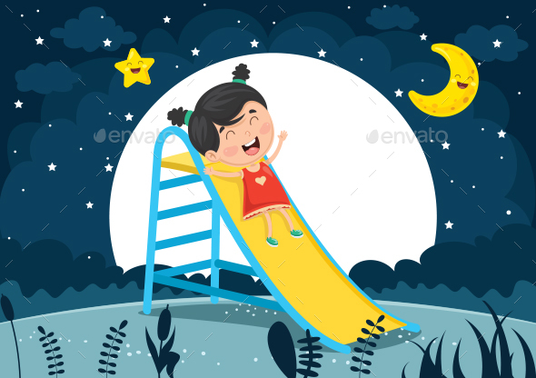 Vector Illustration Of Kid Sliding - People Characters