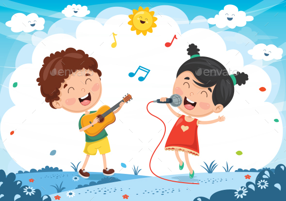 Vector Illustration Of Kids Playing Music - People Characters
