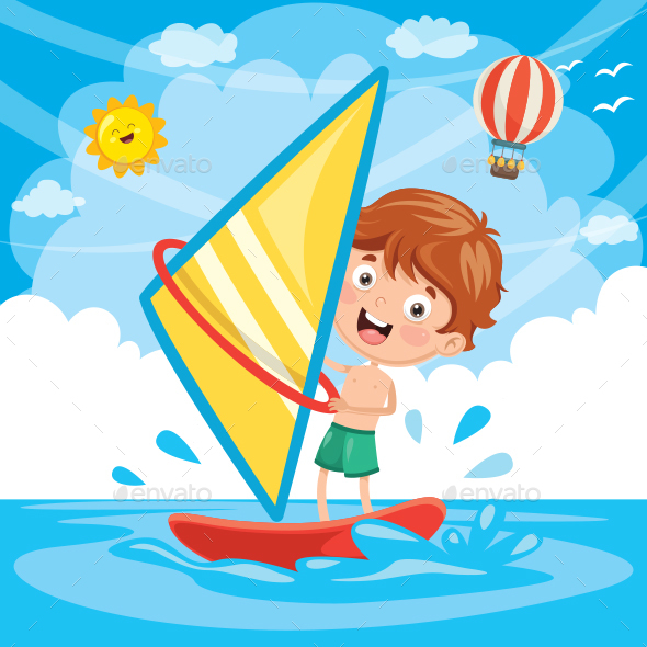 Vector Illustration Of Kid Windsurfing - People Characters