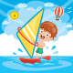Vector Illustration Of Kid Windsurfing