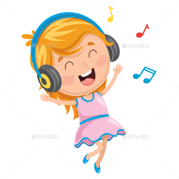 Vector Illustration Of Kid Listening Music - People Characters