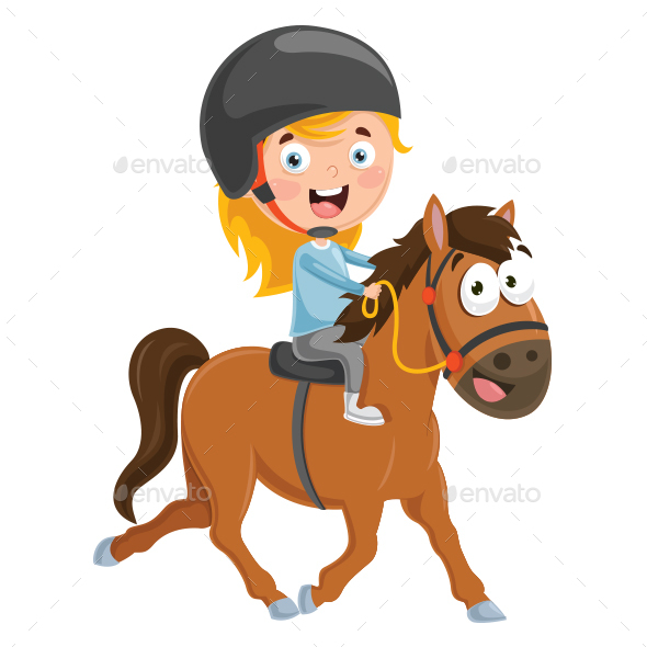 Vector Illustration Of Kid Riding Horse - People Characters