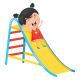 Vector Illustration Of Kid Sliding