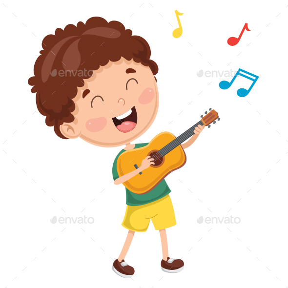 Vector Illustration of Kid Playing Guitar - People Characters