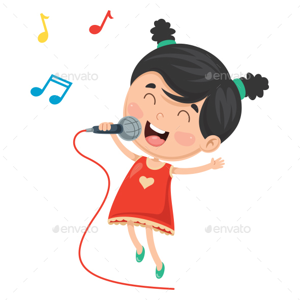 Vector Illustration Of Kid Singing - People Characters