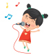 Vector Illustration Of Kid Singing