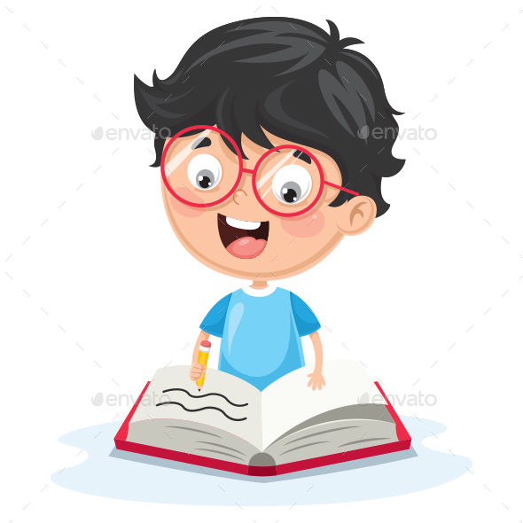 Vector Illustration Of Kid Writing - People Characters