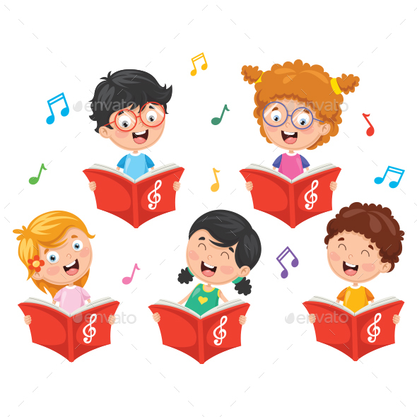 Vector Illustration Of Kids Choir - People Characters