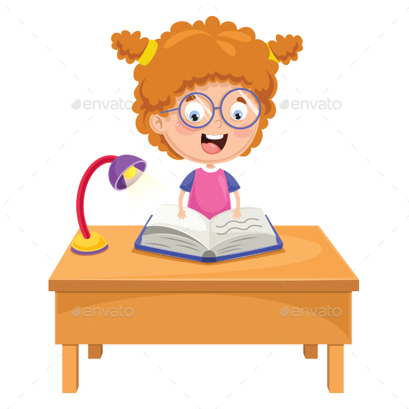 Vector Illustration Of Kid Reading - People Characters