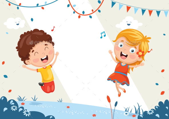 Kids Birthday Template Vector Illustration - People Characters