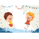 Kids Birthday Template Vector Illustration