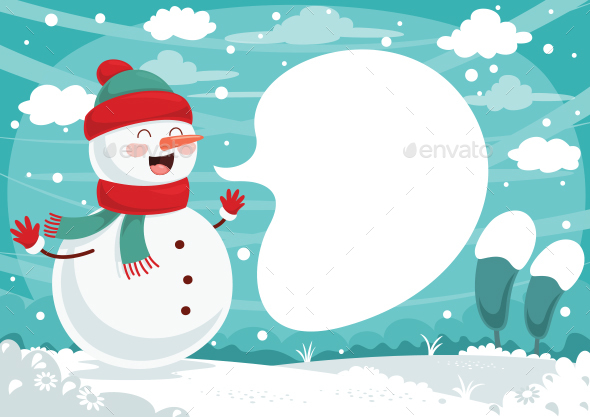 Winter Snowman Background Design - Backgrounds Decorative