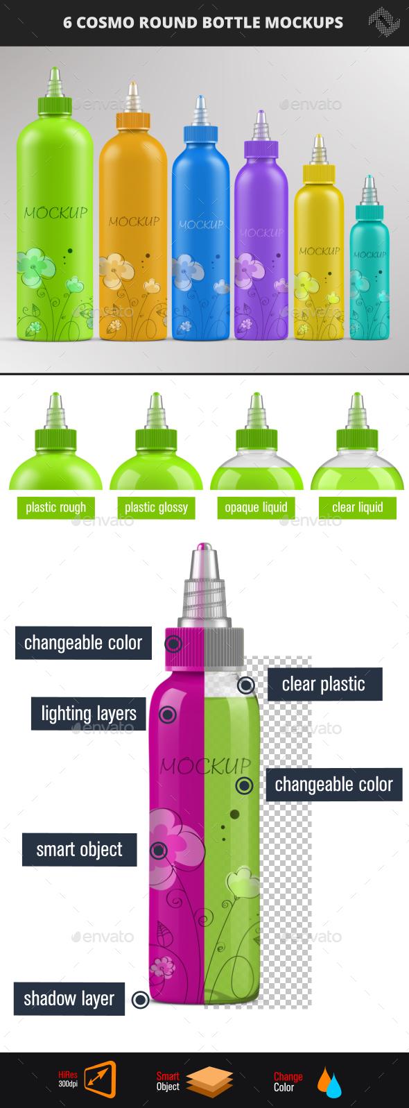 6 Cosmo Round Twist Top Cap Bottle Mockups - Packaging Product Mock-Ups