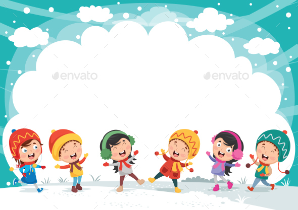 Vector Illustration of Winter Scene - People Characters