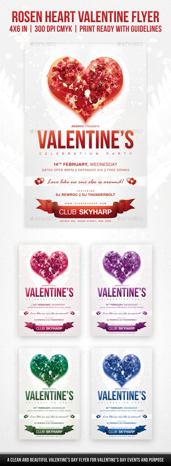 Rosen Heart Valentine Flyer - Holidays Events