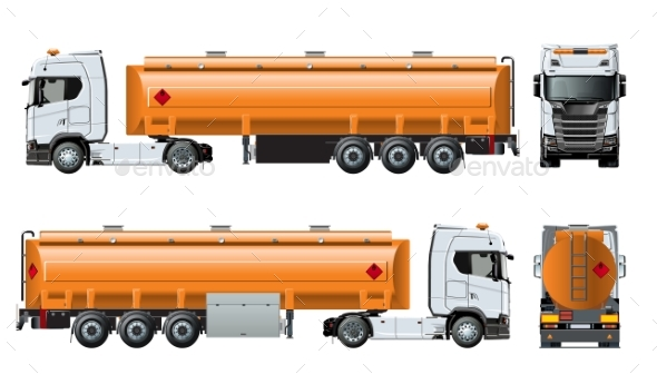Vector Realistic Tunker Truck Template Isolated - Man-made Objects Objects