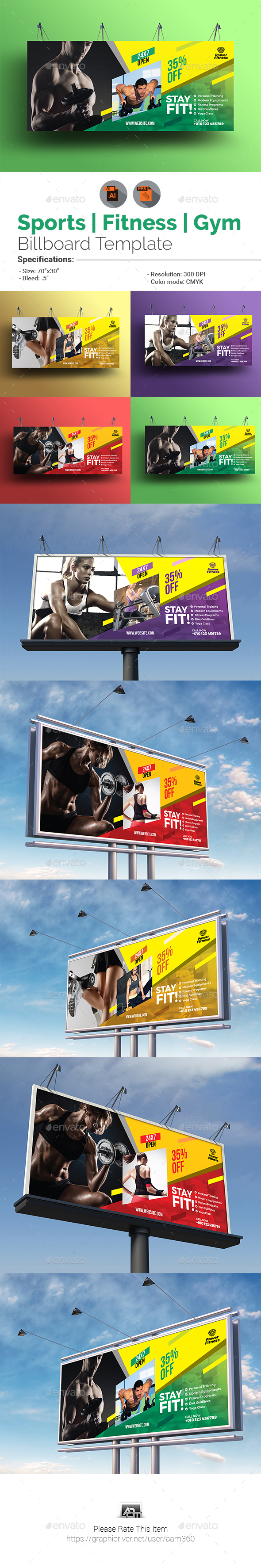 Sports | Fitness | Gym Billboard Template - Signage Print Templates