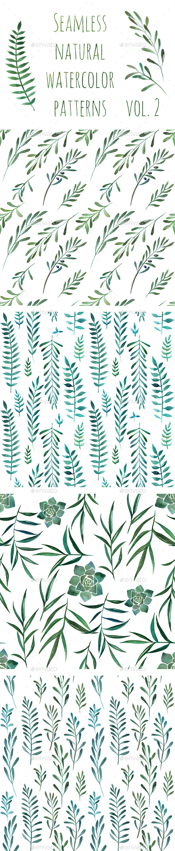 Seamless Watercolor Patterns - Nature Backgrounds