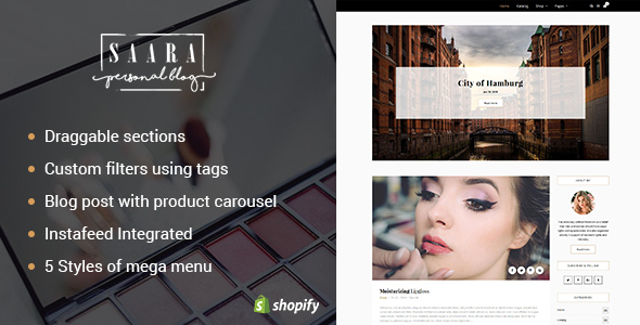 Saara - Creative Blog & Products Shopify Theme