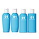 4 Shampoo Bottles Mockup