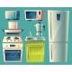 Vector Cartoon Modern Kitchen Interior Objects Set