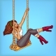 Vector Pop Art Girl on Swing with Headphones