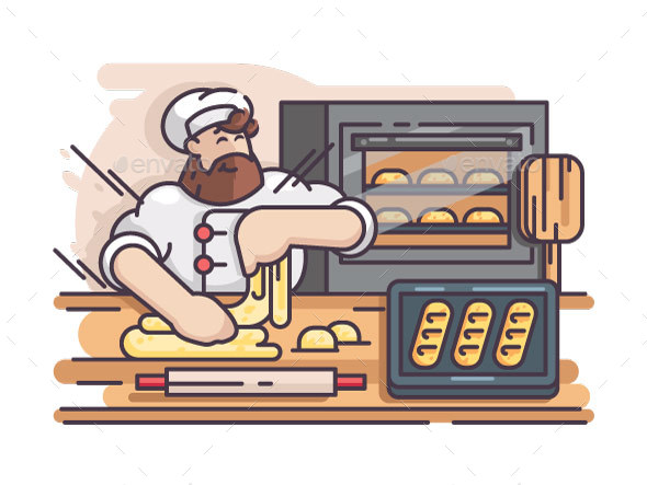 Baker Kneads and Cooking Dough - People Characters