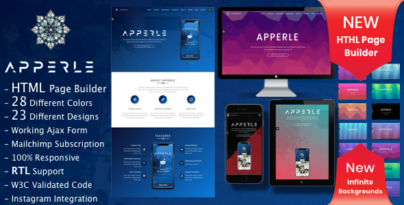 Apperle | App Landing Page HTML template with Page Builder