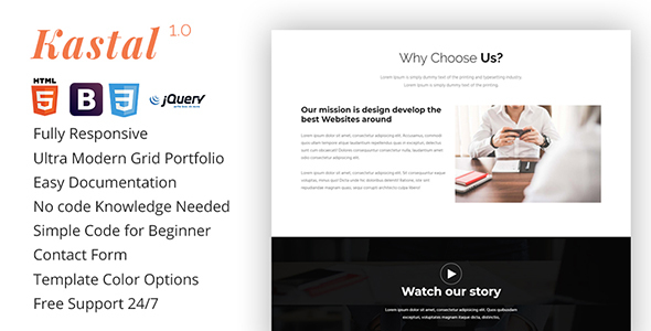 Kastal- parallax one page Template - Landing Pages Marketing