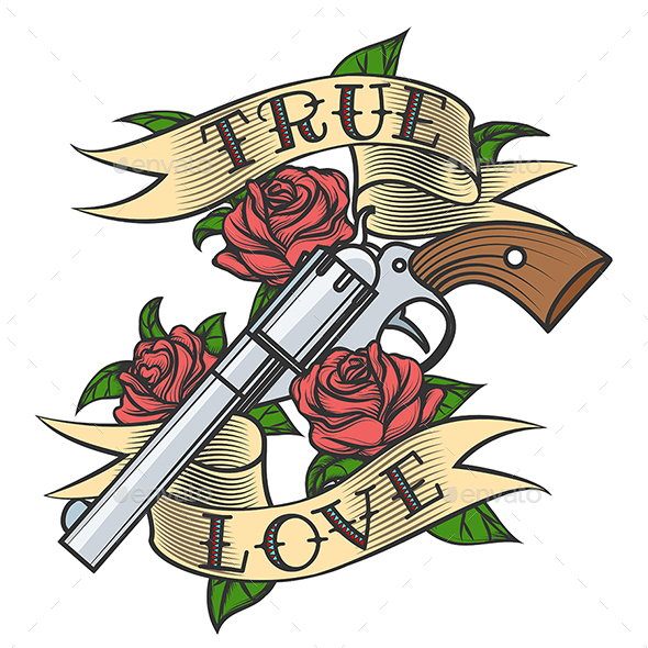 Tattoo with Revolver and Roses - Tattoos Vectors