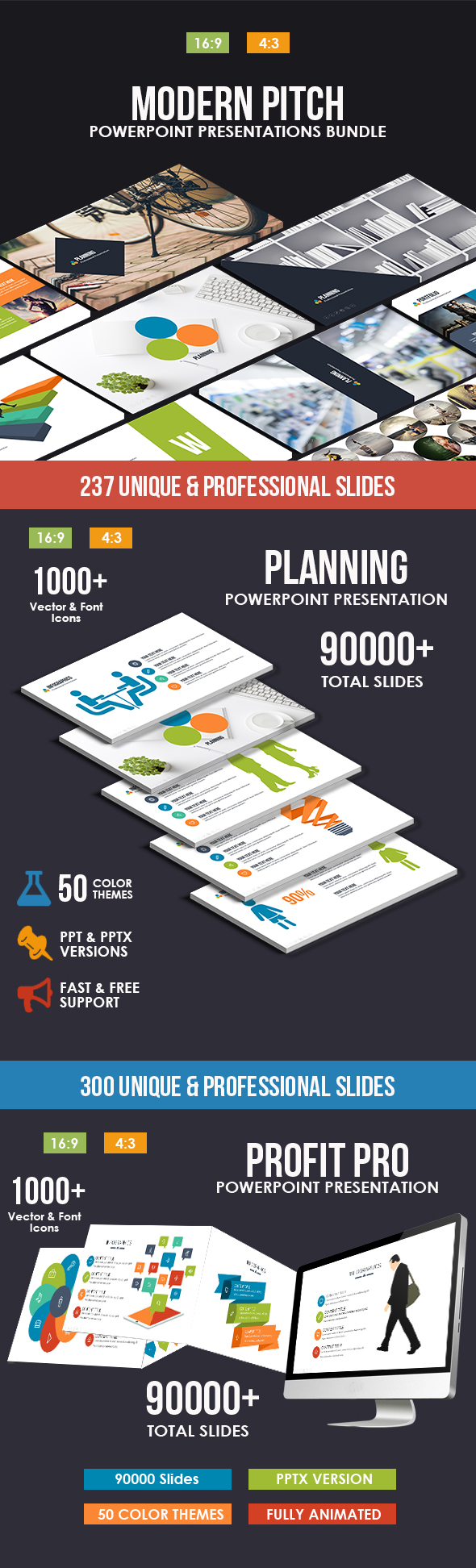 Modern Pitch Deck 2018 Bundle - Business PowerPoint Templates